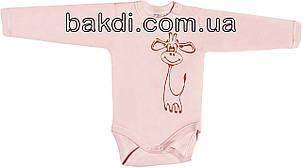 Дитячий боді з начосом ріст 62 2-3 міс інтерлок рожевий на дівчинку з довгим рукавом для новонарождених