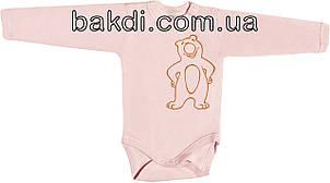 Дитячий боді з начосом ріст 86 1-1,5 року інтерлок рожевий на дівчинку з довгим рукавом для новонарождених
