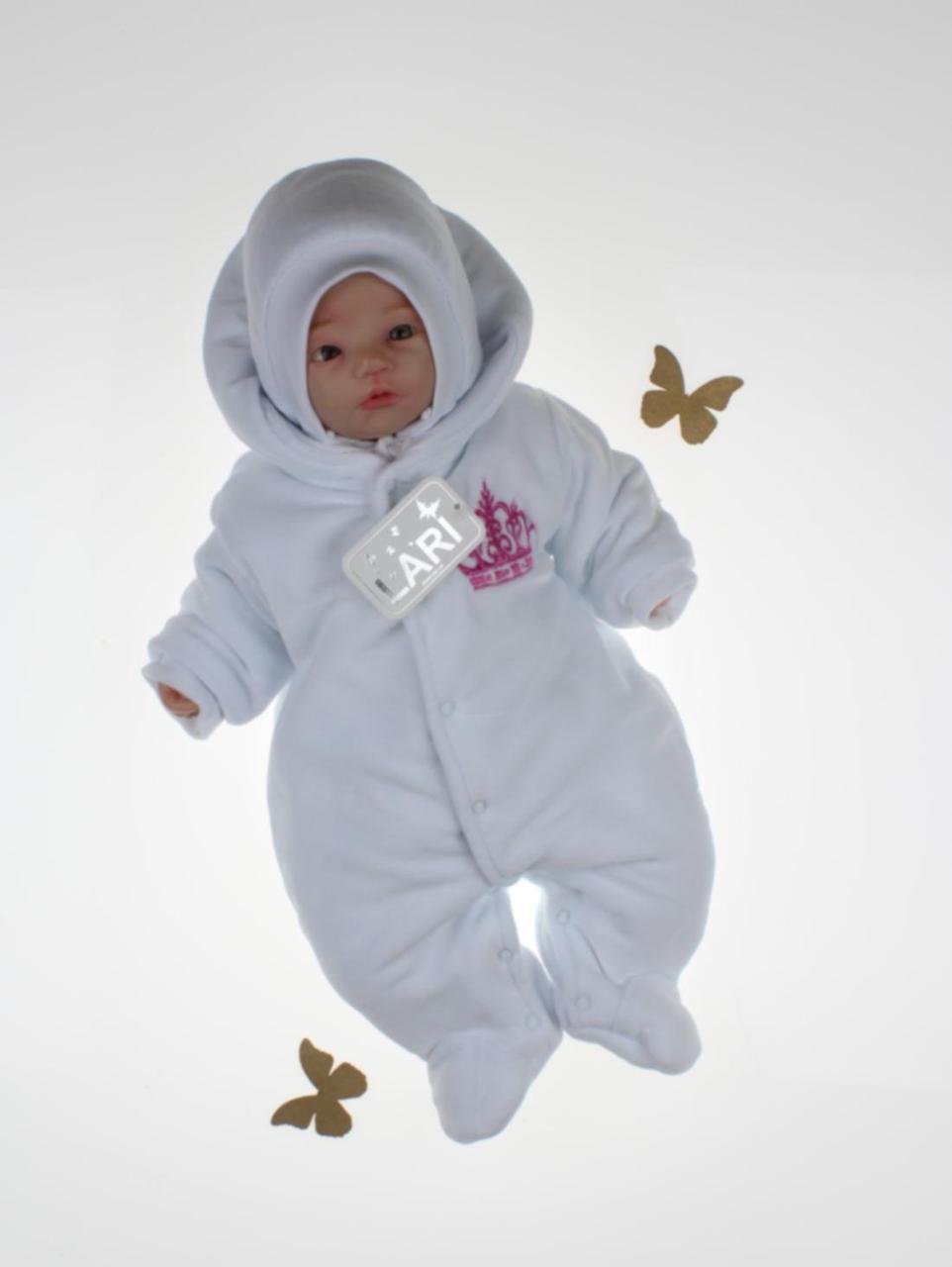 """Зимний комбинезон + шапочка для новорожденных """"Короны"""" (белый с розовой вышивкой)"""