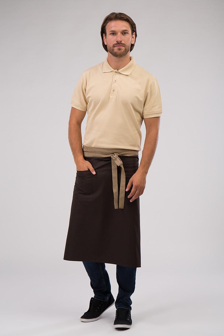 Фартук для официанта, бармена, поварской классический коричневый с бежевым 75 см Atteks - 00214