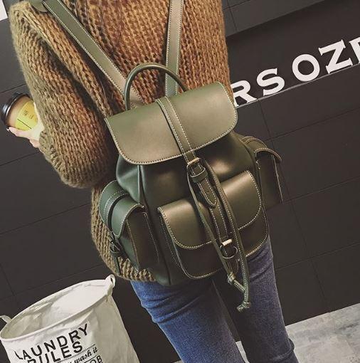 0f5d37ecb31f Рюкзак женский копия Grafea с карманами на затяжке хаки.