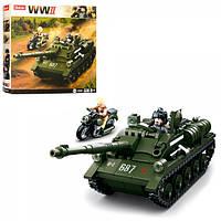 Конструктор SLUBAN M38-B0687 военный, танк, мотоцикл, фигурки, 338дет,в кор-ке, 28,5-28,5-5,5см