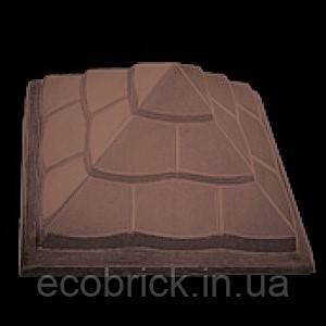 Крышка для забора «ПІРАМІДА» 450х450 мм.цвет коричневый, вес 44 кг.