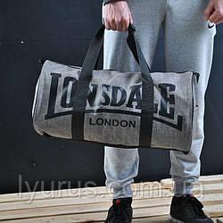 Сумка для спорту Lonsdale London. Для тренувань. Світло Сіра. Під коттон