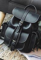 Рюкзак женский в стиле Grafea с карманами на затяжке черный.