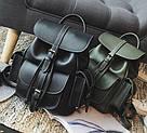 Рюкзак женский кожаный с карманами на затяжке черный., фото 2
