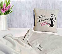 """Оригинальный подарок на 14 февраля. Набор: подушка + плед """"Моей Кошечке"""" 08  цвет на выбор"""