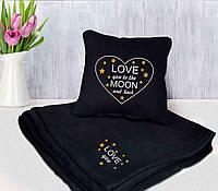 """Оригинальный подарок : подушка + плед """"Love you to the moon and back"""" 13  цвет на выбор"""