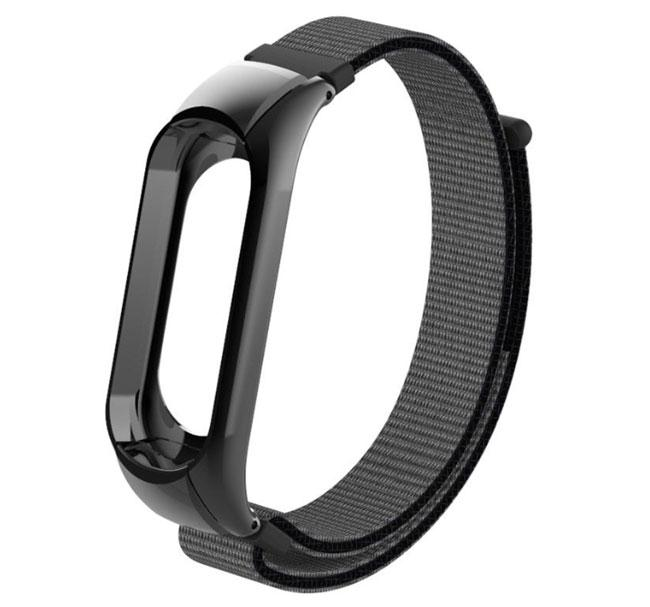 Нейлоновый ремешок Primo для фитнес-браслета Xiaomi Mi Band 3 - Black&Grey