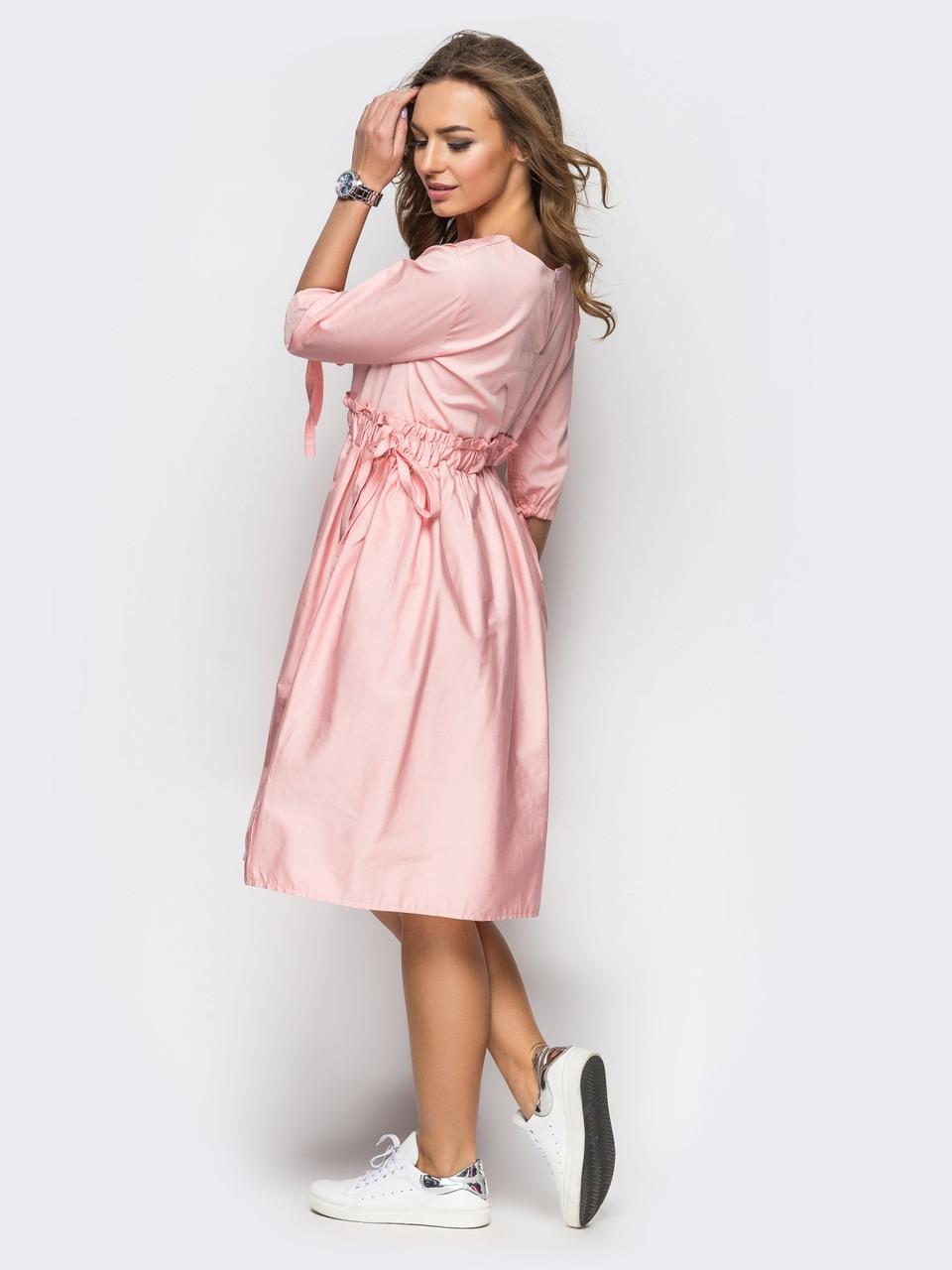 2318ff99e77 🎈Розовое платье oversize с кулиской на поясе (хлопковое