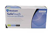 Прочные одноразовые перчатки нитриловые черные XS 100шт/уп (50пар) SafeTouch Advanced Black