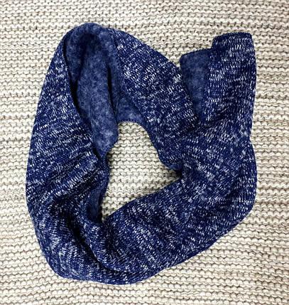 Шапка с шарфом детская  на мальчика зима синий меланж Польша размер 44 48, фото 2