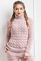 Тёплый женский вязанный шерстяной свитер. Пудра, 8 цветов.
