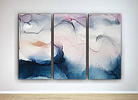 Фотокартина модульная Абстракция Акварельные разводы Нежный цвет Пастельный цвет 90х60 из 3-х частей