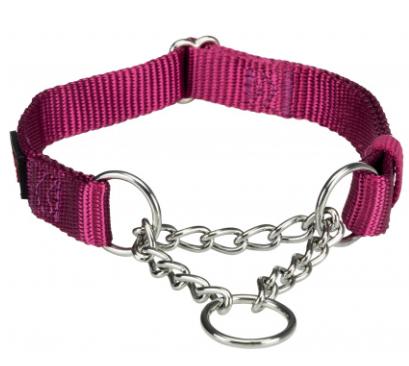 """Ошейник """"Premium"""" с металлической цепочкой, S–M: 30–40 см / 15 мм ярко-розовый"""