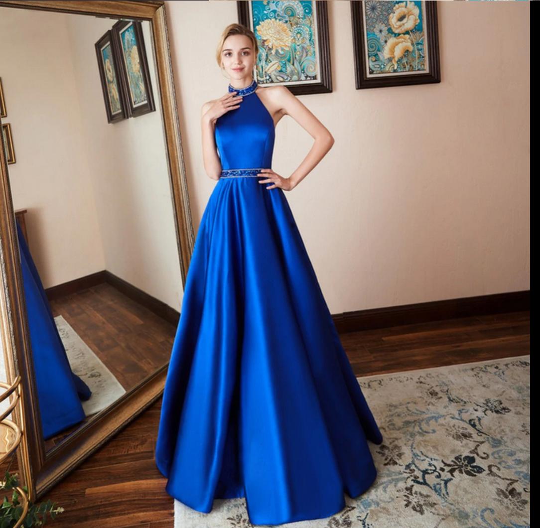 a91460767af Вечернее платье. Выпускное платье. Синее вечернее платье.Атласное синее  платье в пол.