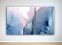 Картина модульна друк на холсті Абстракція Блакитка акварель 100х60 з 2-х частин