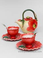 Фарфоровый чайный набор Маки на 2 персоны (Pavone)