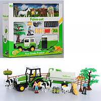 Ферма JC839-40  фигурки, животные, дерево, 2вида (трактор,машина-инер-е), в кор-ке,35-29,5-8см
