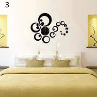 Декоративные интерьерные часы 3Д настенные, бескаркасные, черные 0743265
