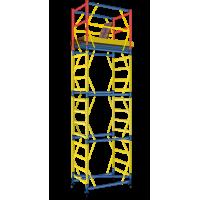 Вышка - тура - ширина 0,8 м, длина 1,6 м, высота настила - 4,0 м, рабочая высота - 6,0 м