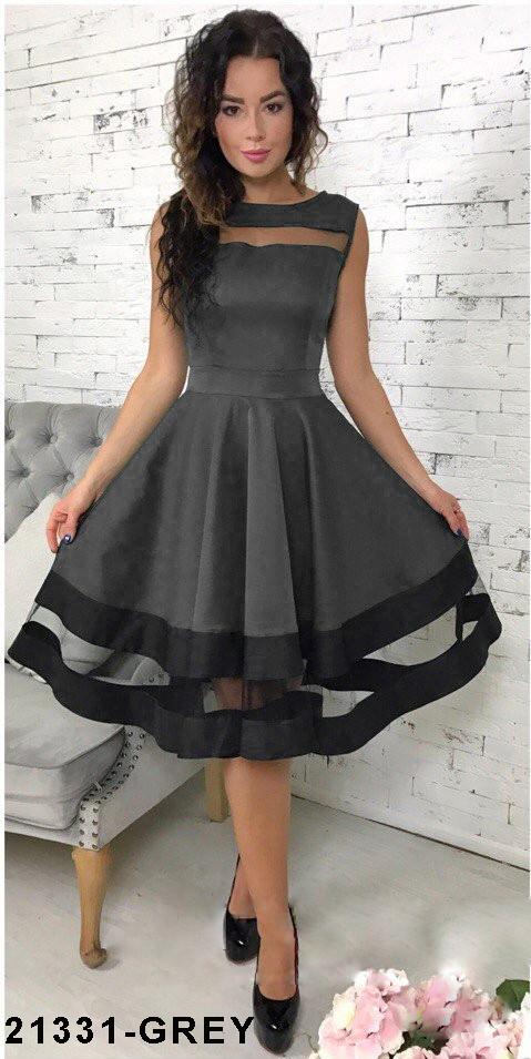 Хит продаж! Элегантное кукольное платье со вставками из сетки  Stefani S, Grey