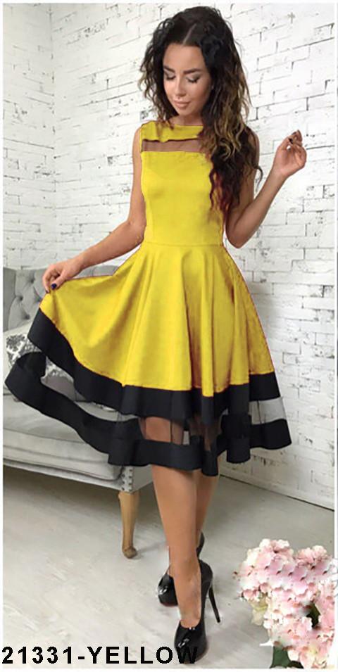 Хит продаж! Элегантное кукольное платье со вставками из сетки  Stefani XXL, Yellow