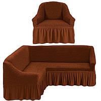 Чехол на угловой диван и кресло, цвет коричневый