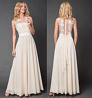 Вечернее длинное платье с прозрачной спинкой. Кремовое, 4 цвета. Р-ры: 42-44 и 46-48.