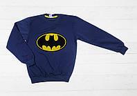 """Детский батник  """" Бетмен """"  с манжетом для мальчика (начес) рост 128,140,152,164 см"""