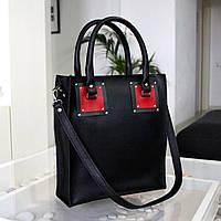 """Женская сумка из кожи портофино """"Hannah"""" черная с красным"""