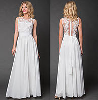 Вечернее длинное платье с прозрачной спинкой. Белое, 4 цвета. Р-ры: 42-44 и 46-48.