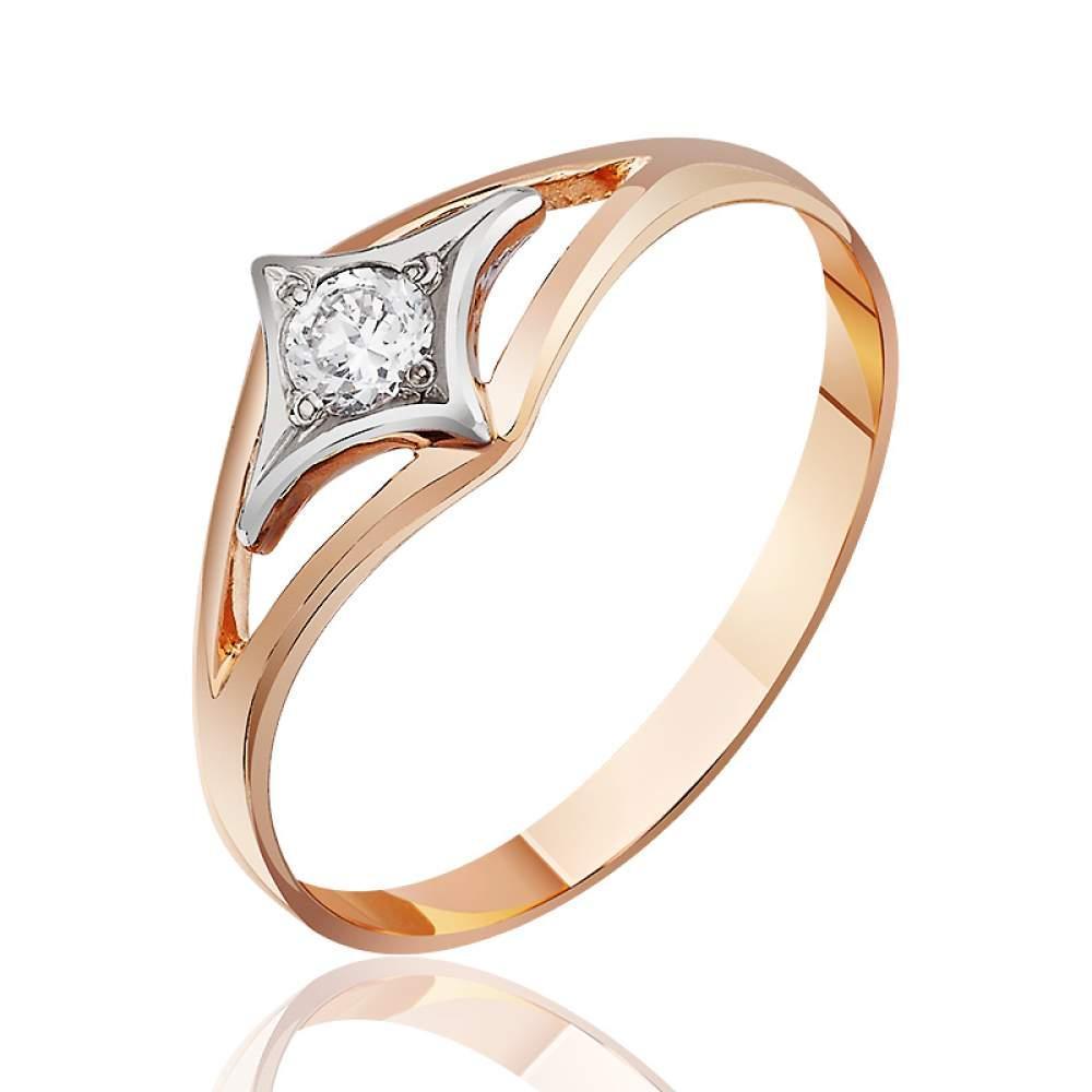 """Кольцо  с цирконом """"Белла"""", комбинированное золото, КД022 Eurogold"""