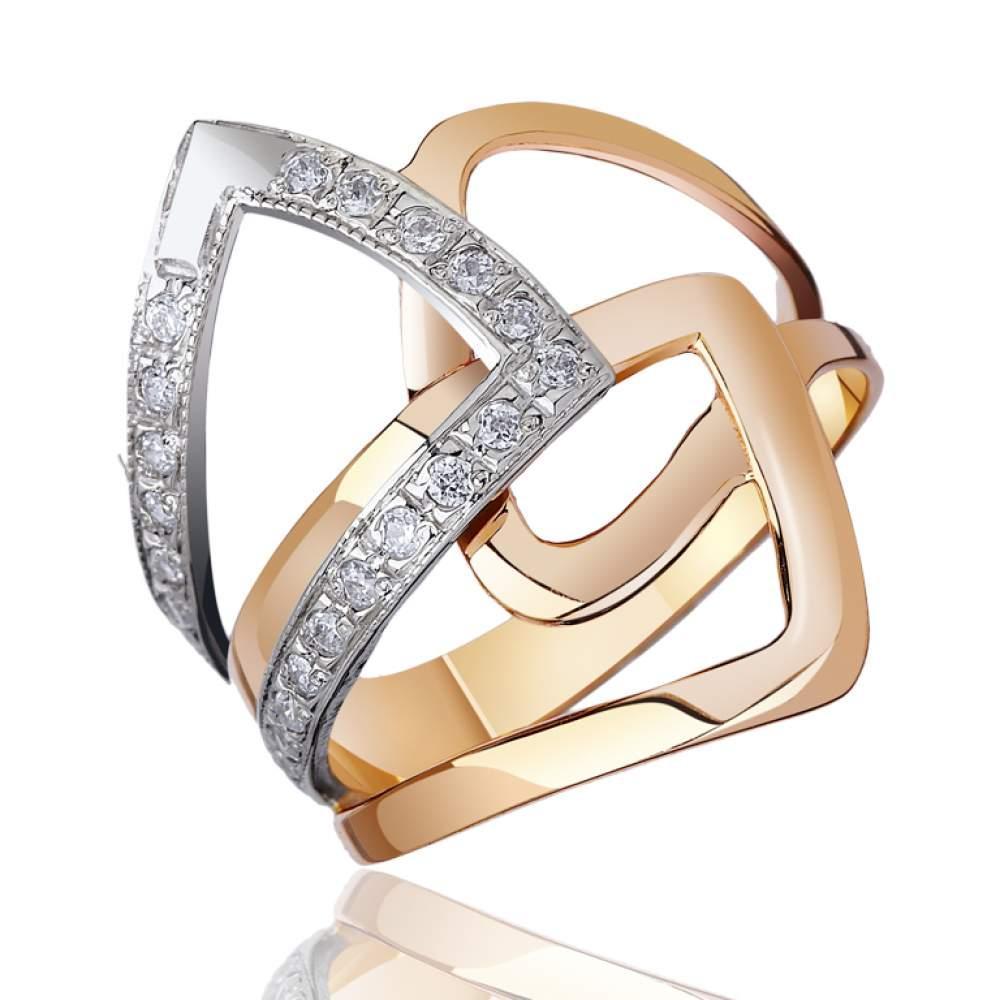 Кольцо  с цирконами и абстрактным орнаментом, комбинированное золото, КД0294 Eurogold