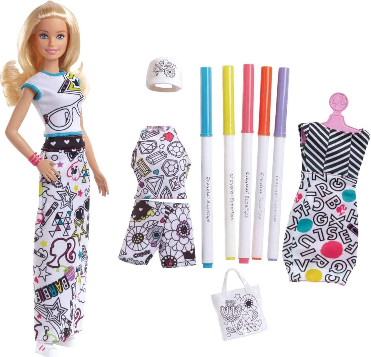 Кукла Барби Модный дизайнер раскраска одежды Barbie Crayola Color-in Fashions