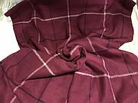 Объёмный бордовый тёплый шарф  в клетку для мужчин и женщин