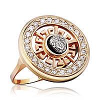 """Золотое кольцо с цирконами в стиле """"Версаче"""", КД0364 Эдем"""