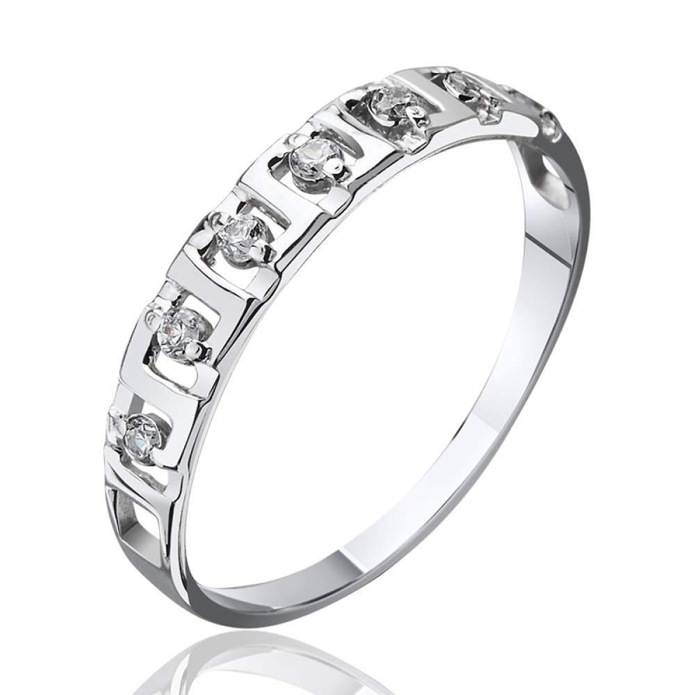 """Кольцо  с цирконами """"Цепь"""", белое золото, КД0436/1 Eurogold"""