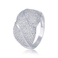 """Золотое кольцо с цирконами """"Восхищение"""", белое золото, КД0489/1 Eurogold"""
