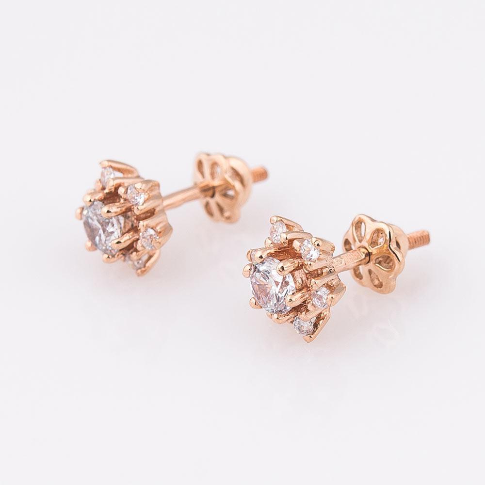 Золотые женские серьги-гвоздики с фианитами (9мм) гс01798