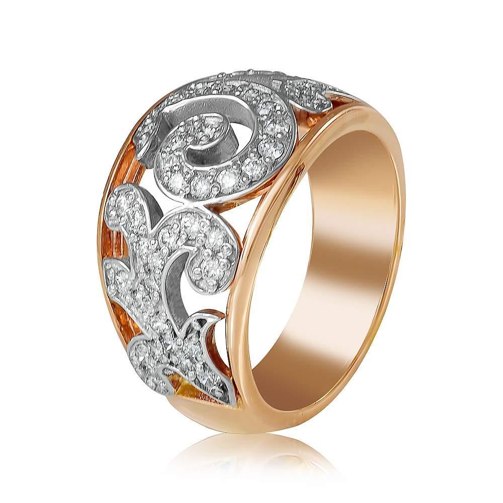 "Золотое кольцо с цирконами  ""Истина"", КД0503 Eurogold"