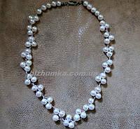"""[L-49.5 см,d 8-10 мм ] Ожерелье """"Принцесса"""" из натурального круглого Жемчуга (на нитке через узелок)"""