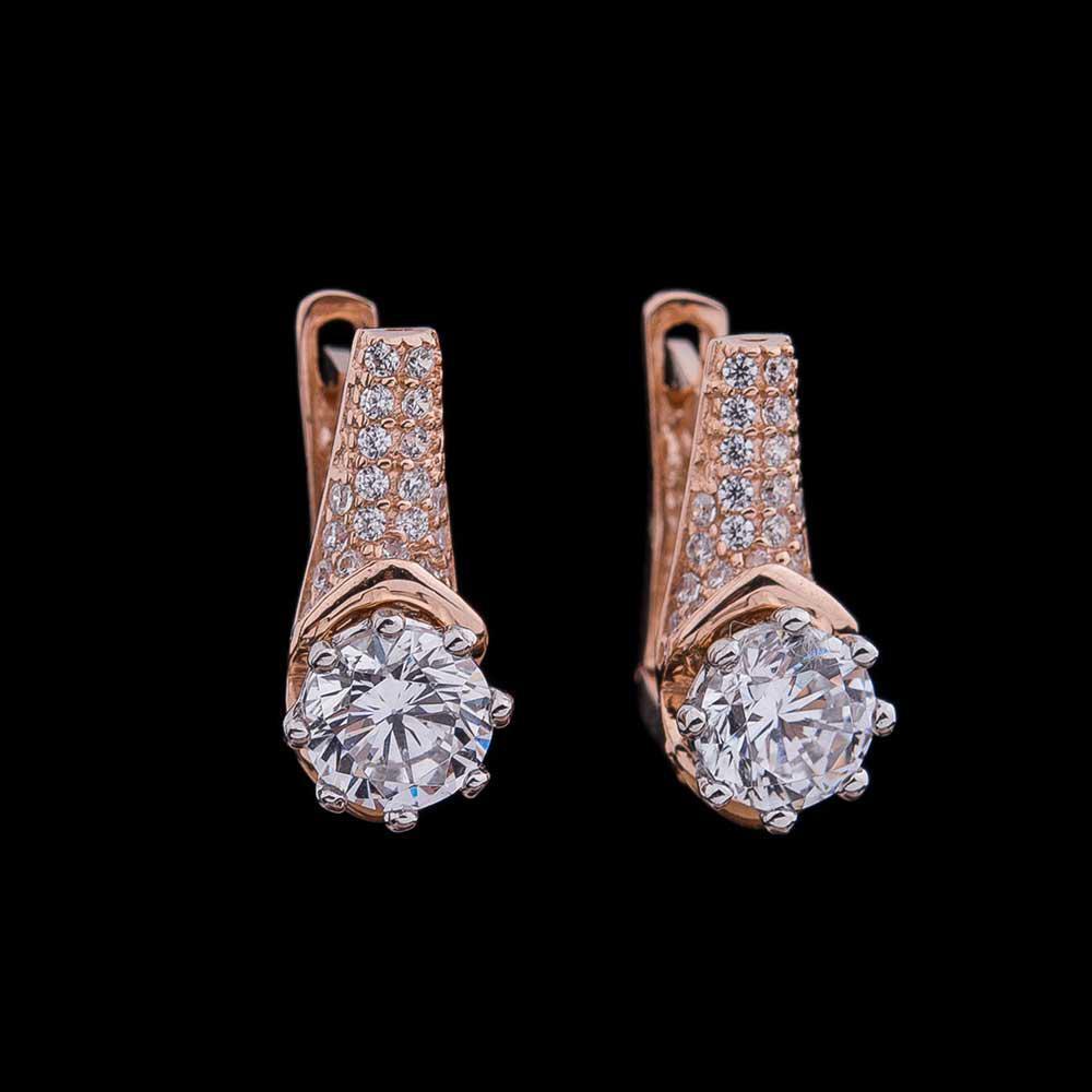 Золотые женские серьги с фианитами гс04129