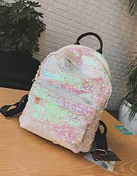 Рюкзак с пайетками меняющий цвет бело-розовый.