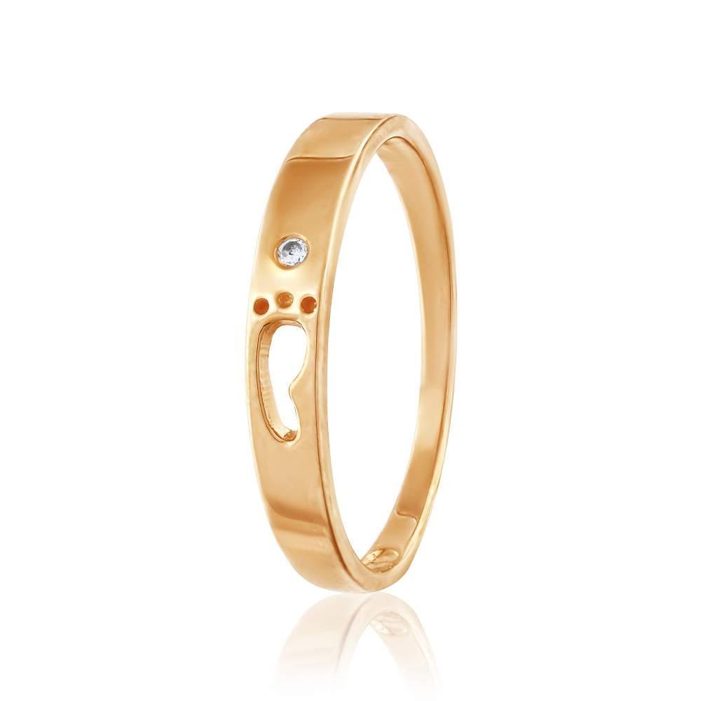 """Кольцо золотое """"Маленькая ножка"""", КД0521 Eurogold"""