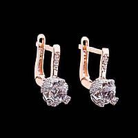 Золотые женские серьги с фианитами гс04127