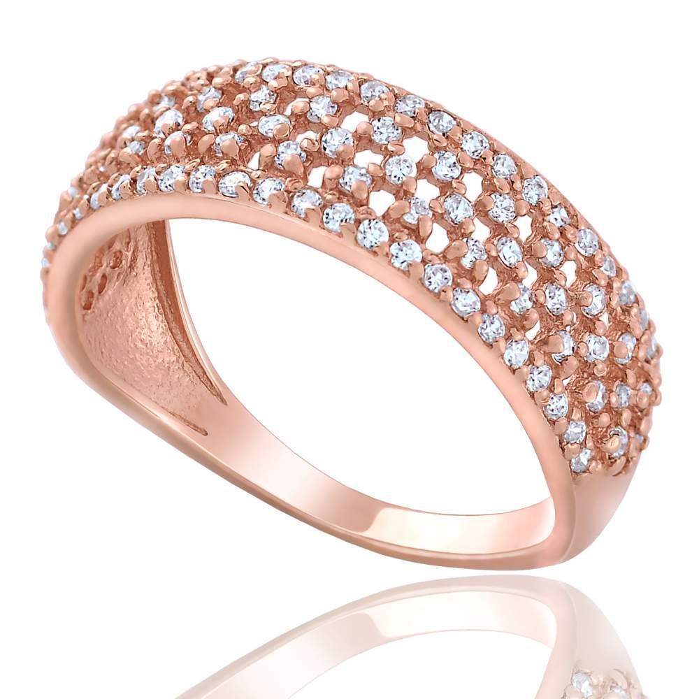"""Золотое кольцо декорированное цирконами """"Корнелия"""", КД2013 Eurogold"""