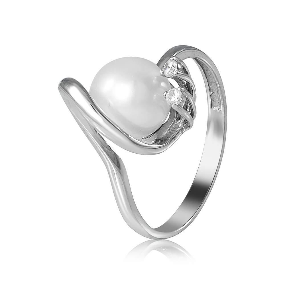 Кольцо КД2026/1 с камнем Циркон, белое золото Eurogold
