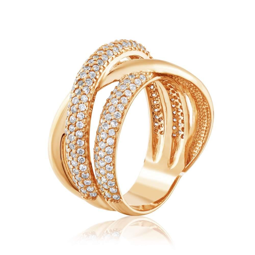 """Кольцо золотое с цирконами """"Даль"""", КД2050 Eurogold"""