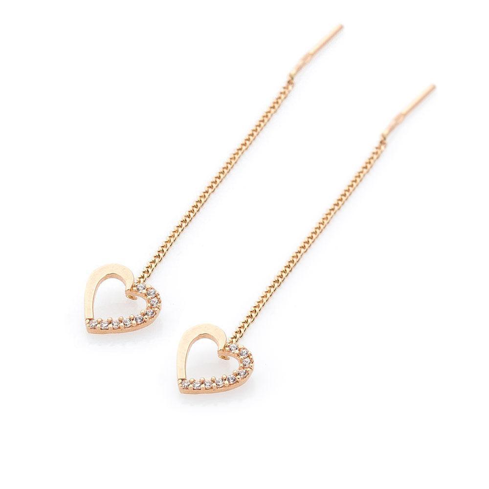 Золотые серьги-протяжки (фианиты) гс05323